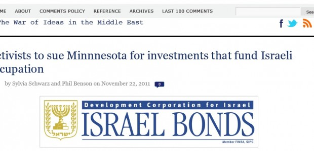 by Sylvia Schwarz and Phil Benson, Mondoweiss, November 22, 2011 Minnesota is among twenty-two states and the District of Columbia which invest in State of Israel Bonds. Proceeds from the...